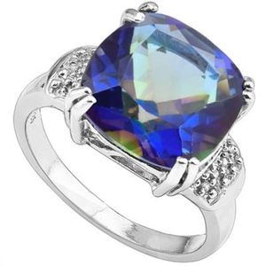 Ring 6 2/3 Ct Mystic Gemstone/Diamonds/925 Silver